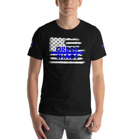 Order Vs. Chaos Thin Blue Line Short-Sleeve Unisex T-Shirt