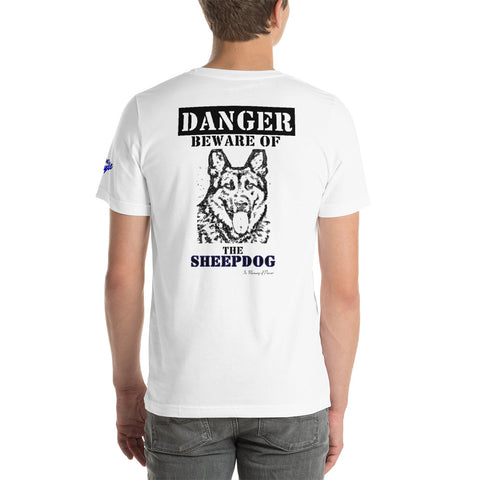 """Beware of the Sheepdog"" Sheepdog Style Short-Sleeve Unisex T-Shirt"