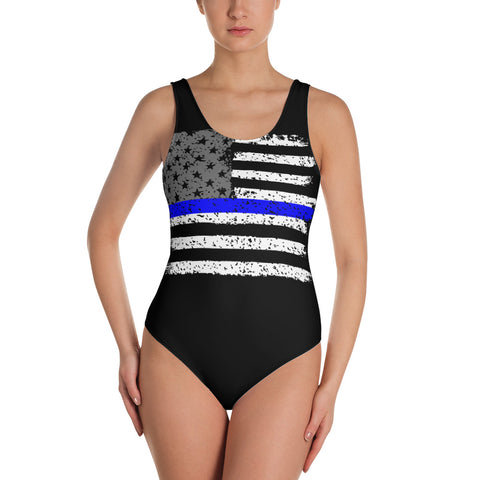 Thin Blue Line Flag One-Piece Swimsuit