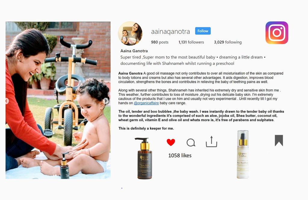 Super Mom Aaina Loves Organic Affaire's Baby Care Products