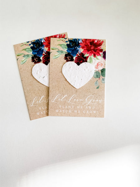 growNOTES™ Plantable Favors - Red Navy Floral