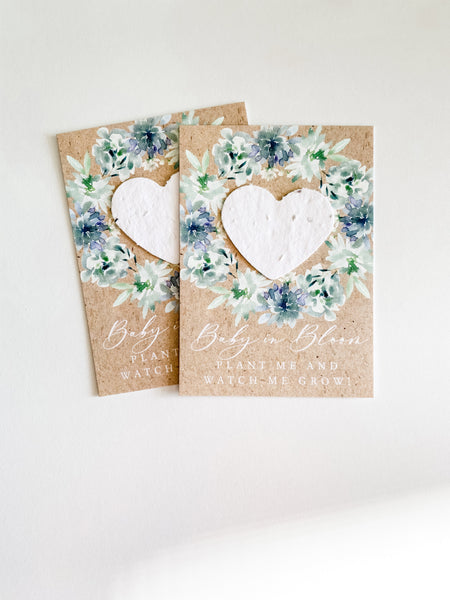 growNOTES™ Baby in Bloom Plantable Favors - Blue Floral Wreath