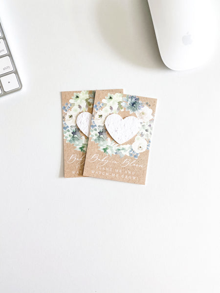 growNOTES™ Baby in Bloom Plantable Favors - Blue and White Floral Wreath