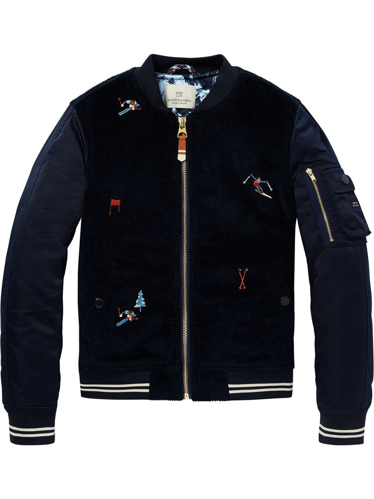 Scotch Shrunk Corduroy Bomber Jacket with Embroidery - Navy - 1844147265