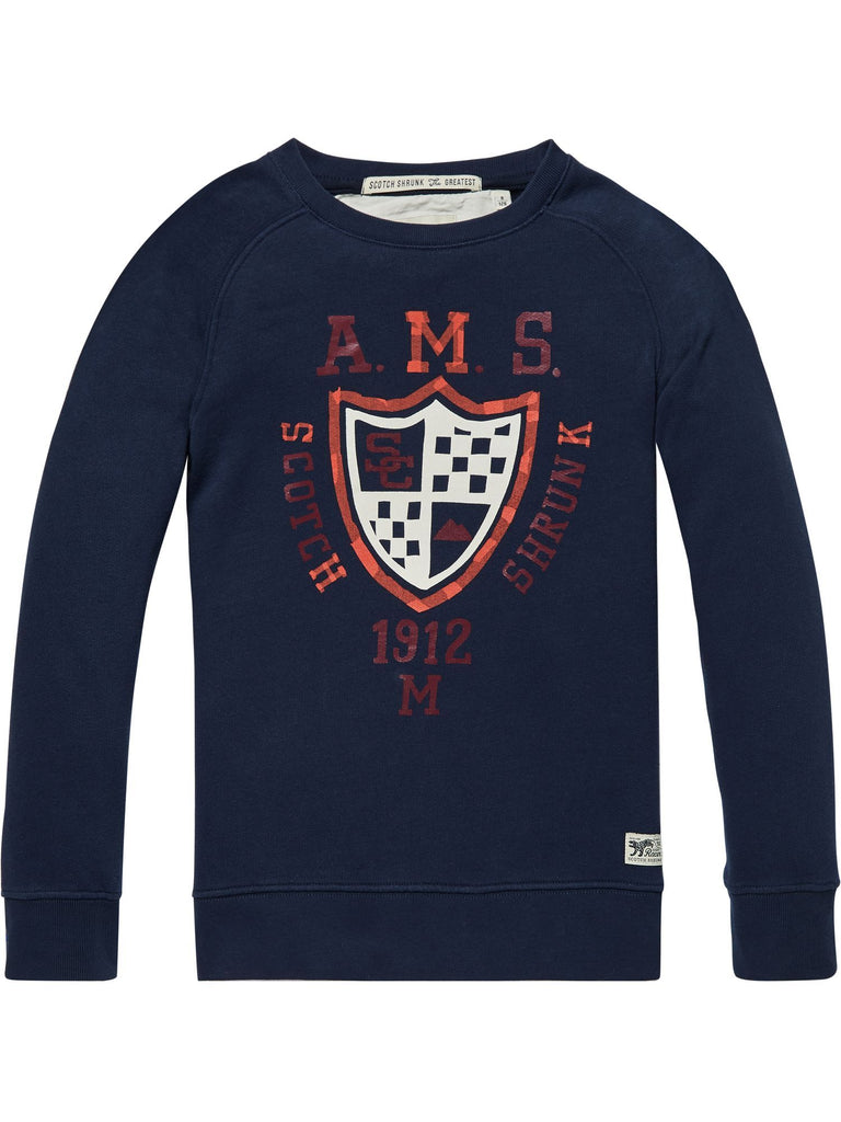 Scotch Shrunk Crew Neck Sweat with Emblem - Night/Navy - 1844148519