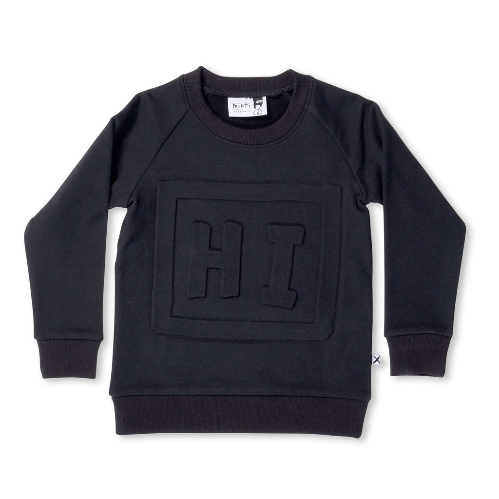 Minti Hi In A Box Furry Crew Sweat Shirt - Black