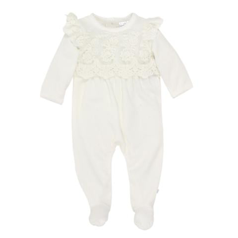 Bebe Girls Long Sleeve Lace Romper W/Feet - Ivory
