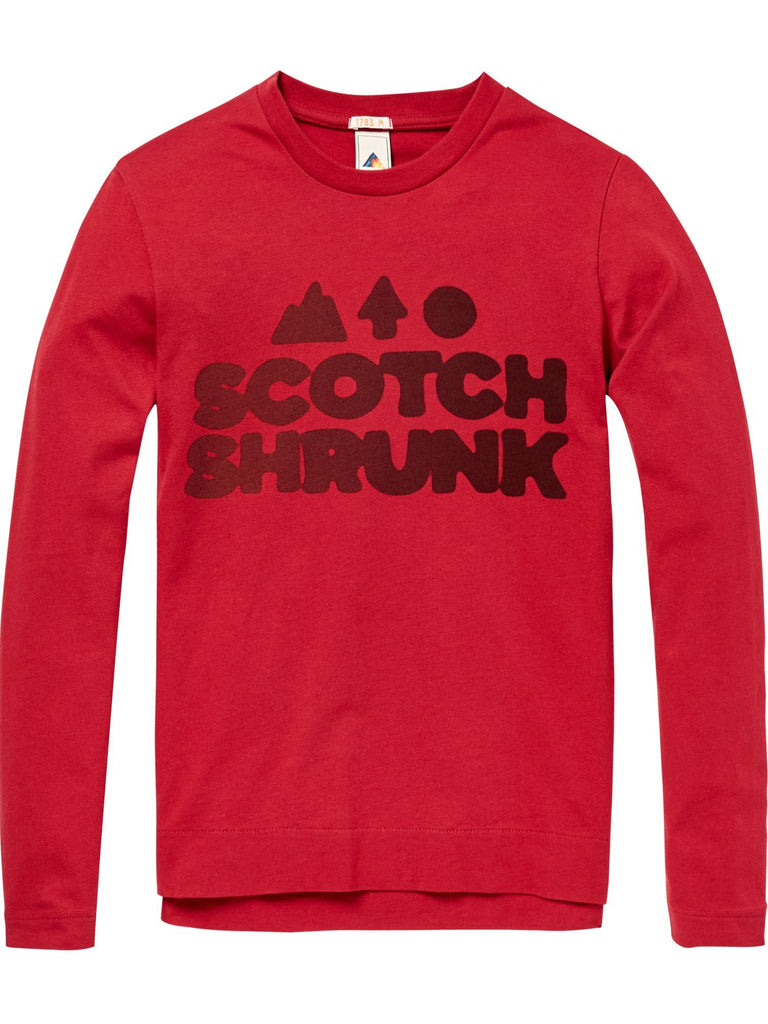 Scotch Shrunk L/Sleeve T.Shirt with Logo - Red - 1844146032