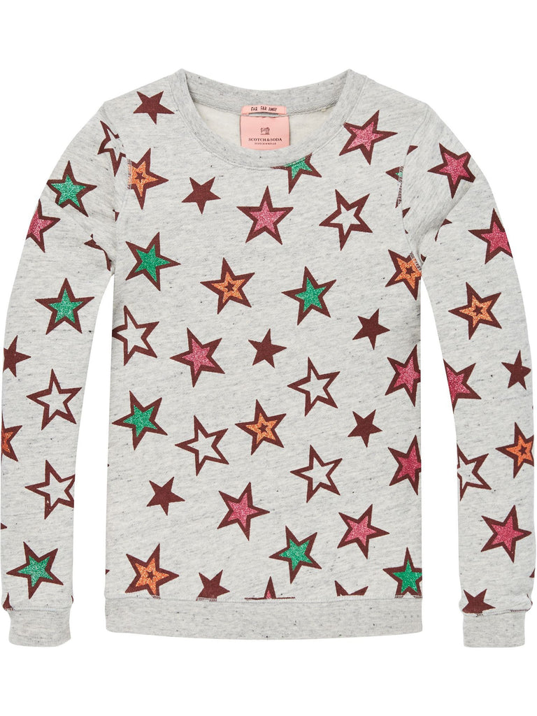 Scotch R'Belle Crew Neck Sweat Star Print - Grey