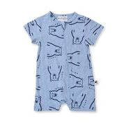 Minti Bear Party Zippy Suit - Blue Marle