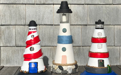 Make a  Flower Pot Lighthouse