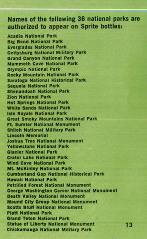 sprite national park bottle list of parks