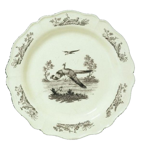 A Wedgwood Creamware dessert dish, transefer printed on black enamel, likely 1780-1790, from a collection at the Victoria and Albert Museum. Photo courtesy the VAwebteam.