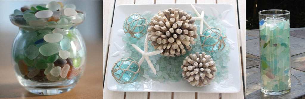 fill a container with sea glass