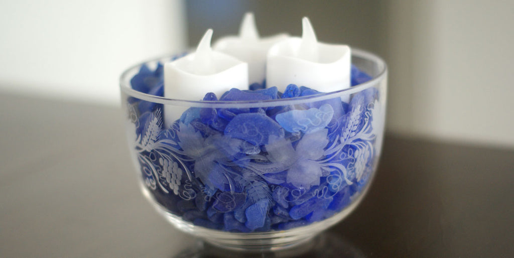 fill candle with sea glass