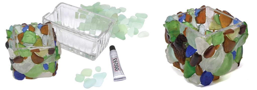 glue sea glass on container