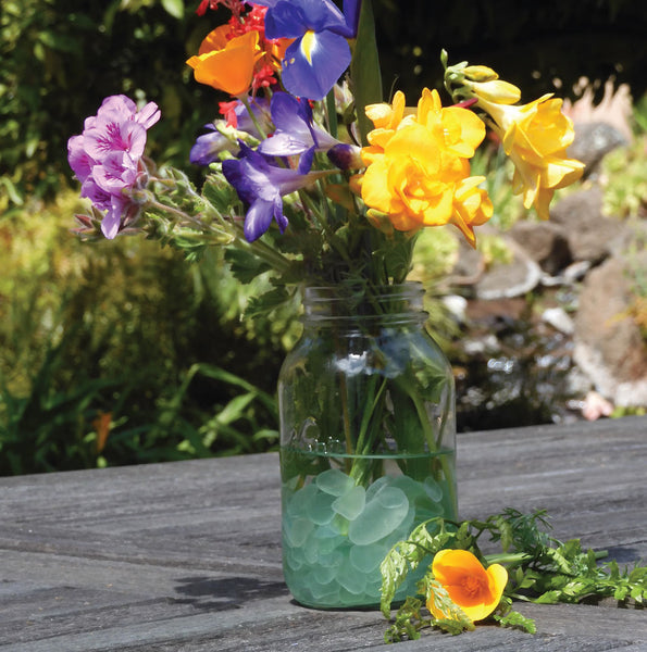fill flower vase with sea glass