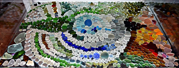 sea glass display case germany