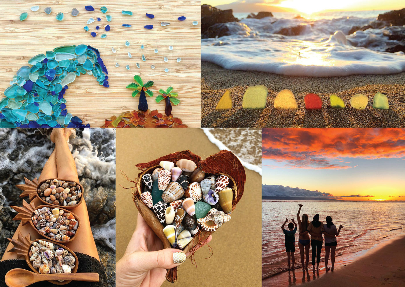 sea glass and seashell art from heather ganis maui belle