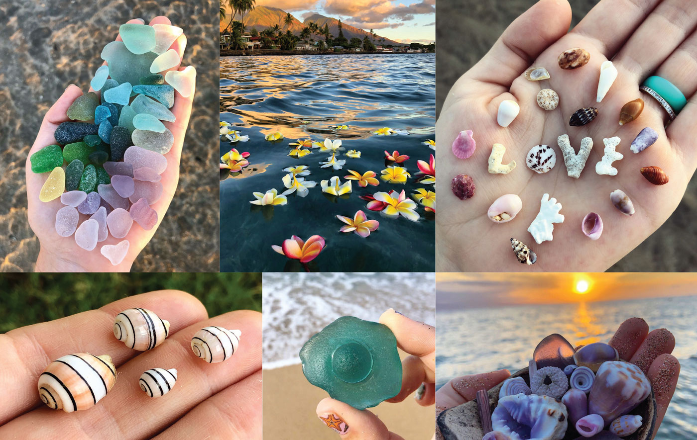 sea glass bubble shells flowers from @mauibelle