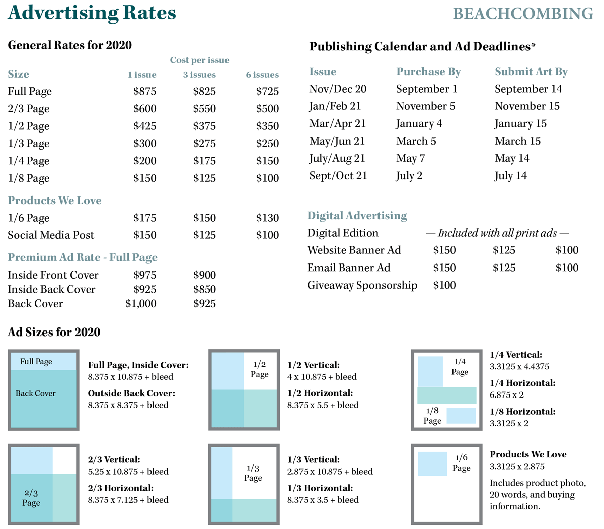 ad rates for beach comber magazine