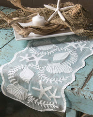 sea shell lace table runner