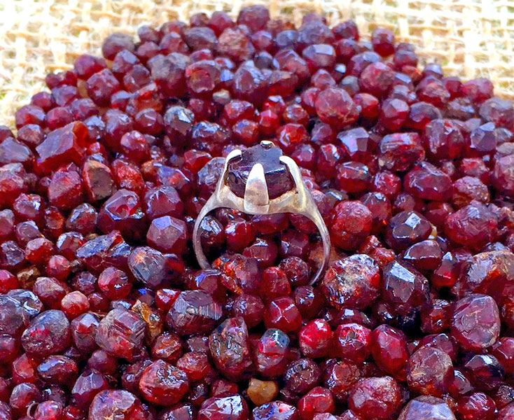 Silver ring with red garnet (photo © Alan Murphy)