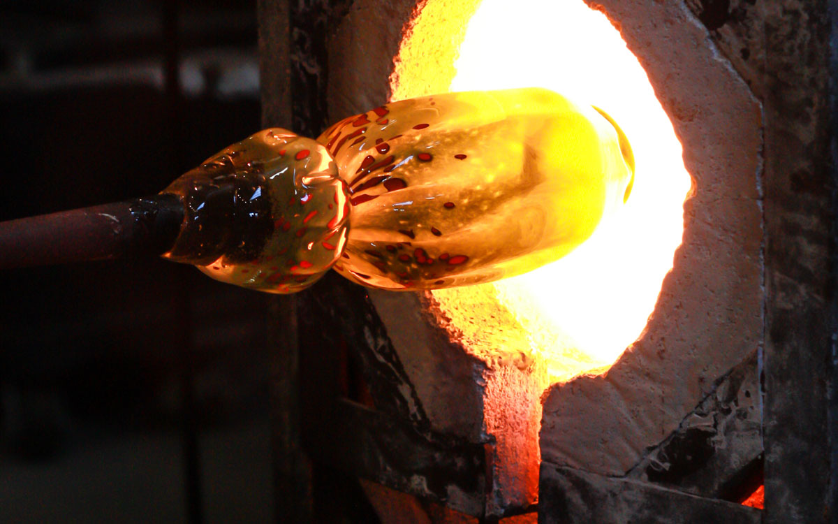 heating glass for glass blowing