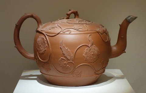 An example of 'redware', a punch pot c. 1765, currently housed at the Chazen Museum of Art in Madison Wisconsin.