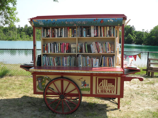 Free library book exchange kiosk buggy
