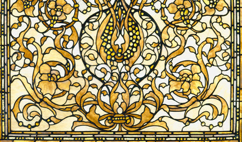 yellow amber stained glass window