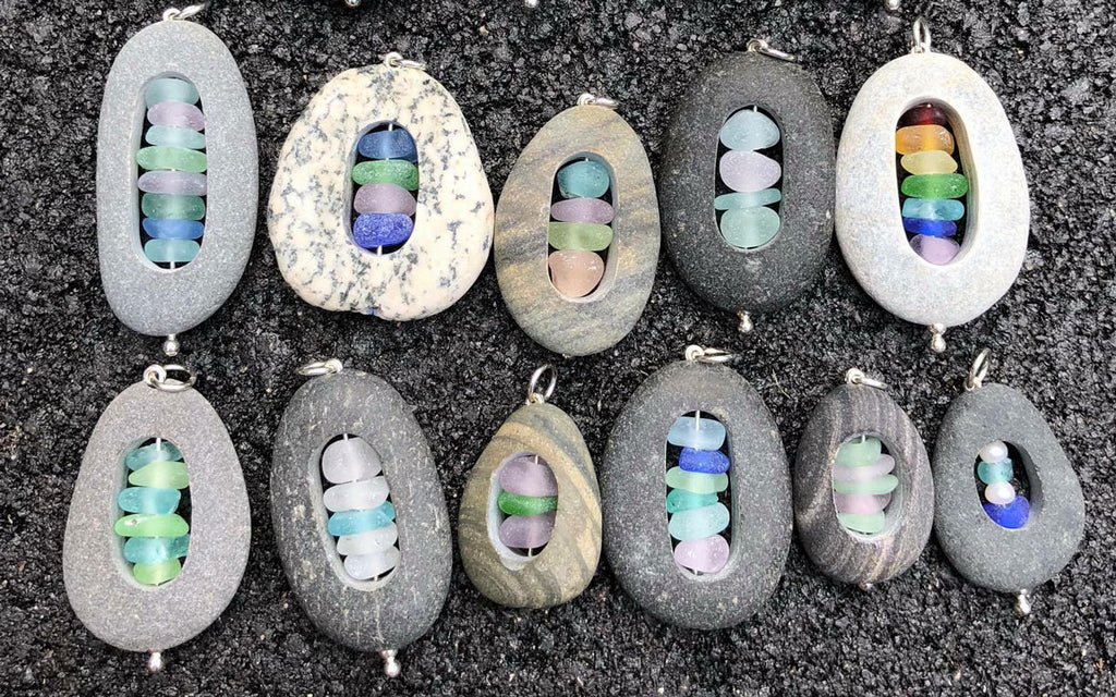 beach glass and sea stones necklaces
