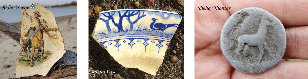 beach pottery and beach metal with animals on it
