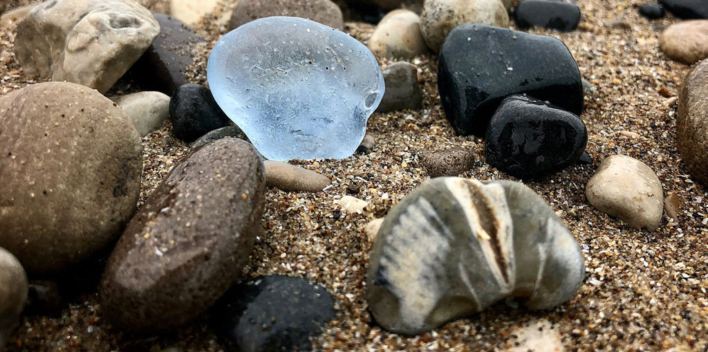 blue beach glass and fossil from great lakes