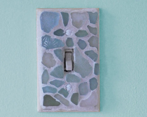 light switch with sea glass