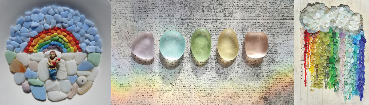colorful beach and sea glass