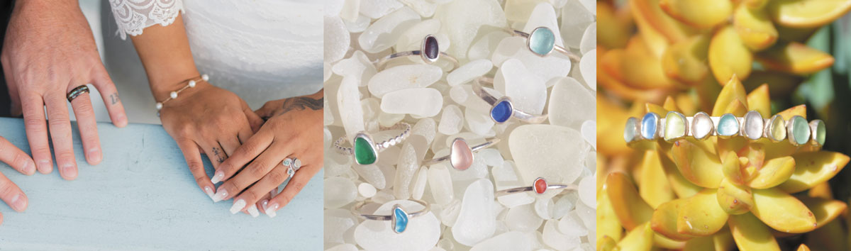 sea glass jewelry for bride and groom at wedding
