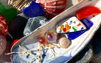 shells and sea glass