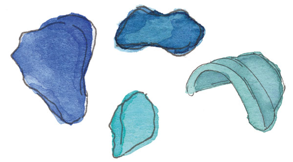 watercolor painting of sea glass