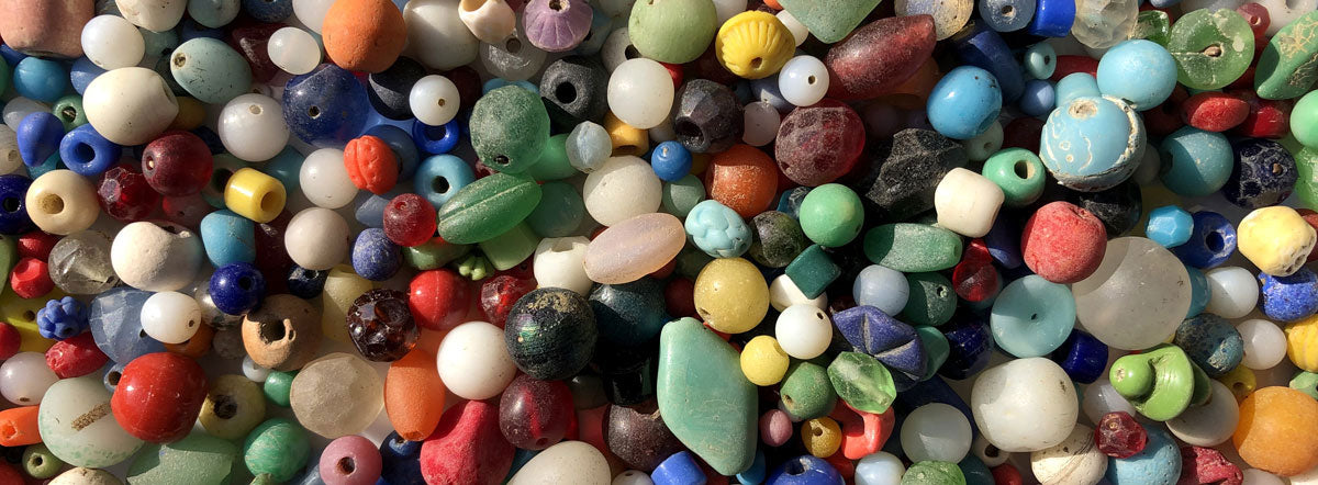 colorful glass beads from the Thames