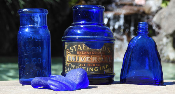 vintage blue glass bottles