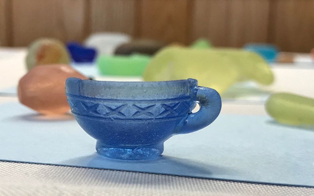 blue beach glass cup