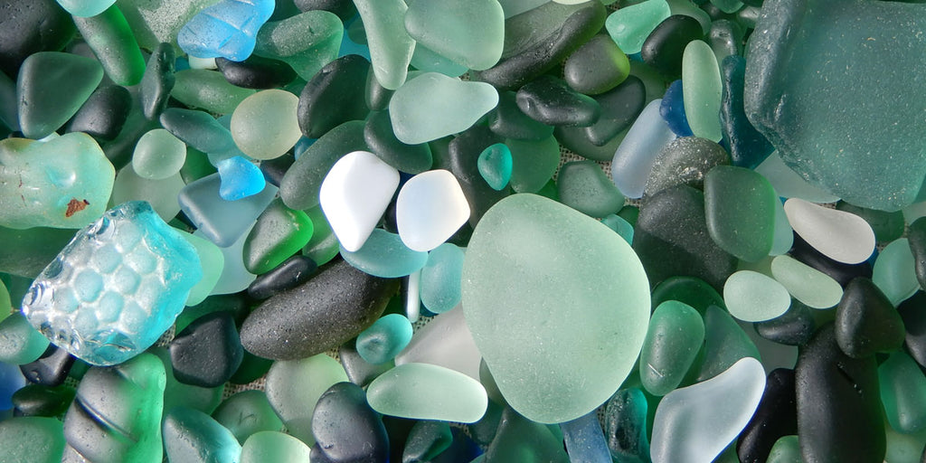 blue and green sea glass
