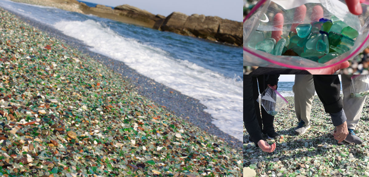 beach covered in sea glass bay of japan