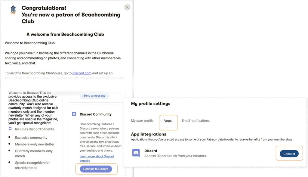 beachcombing clubhouse connection to discord