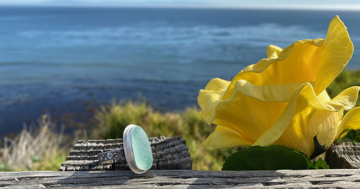sea glass ring by the ocean