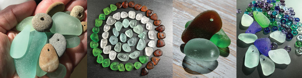 beads made from sea glass drilling