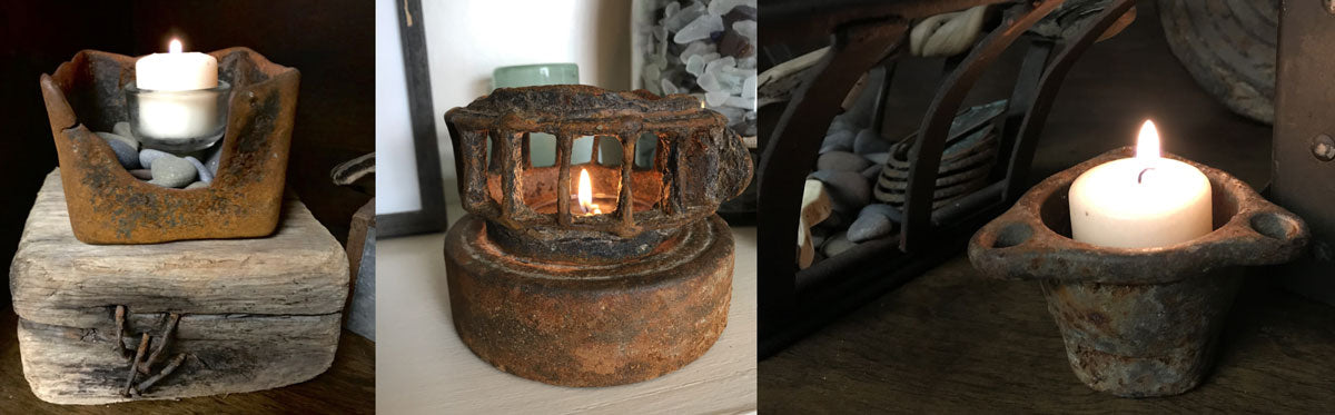 candle holders made from beach metal