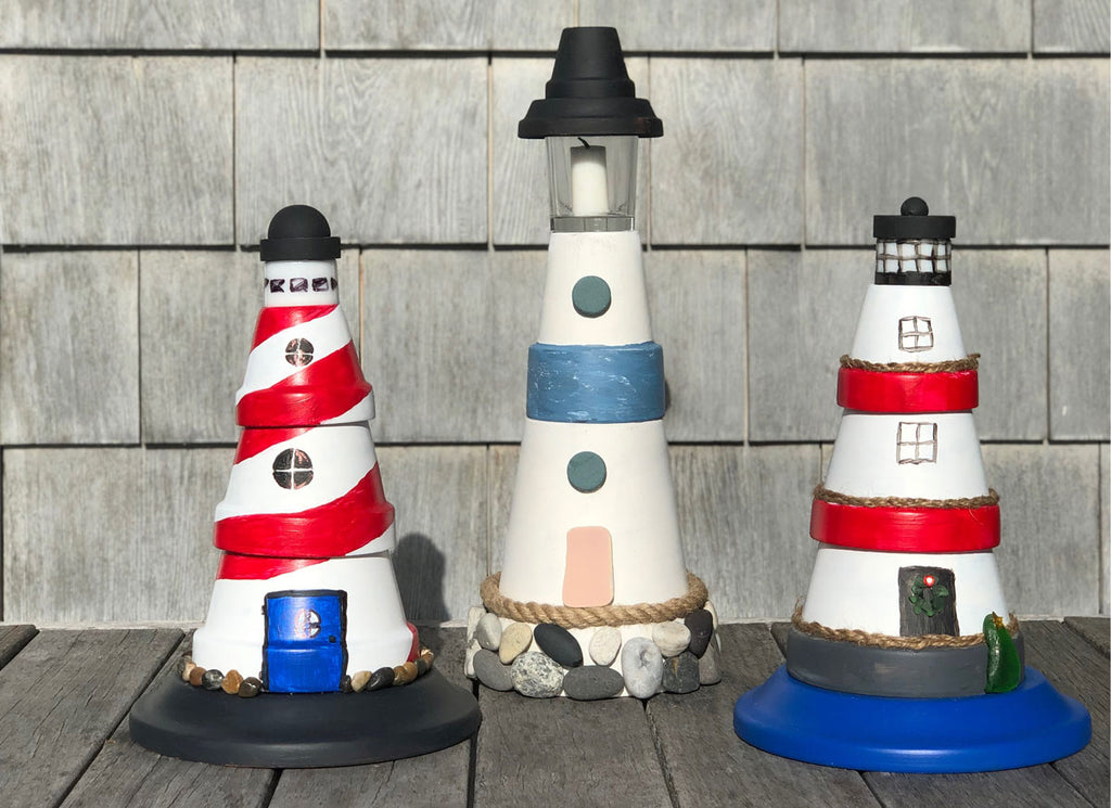 flower pot lighthouse craft how to tutorial