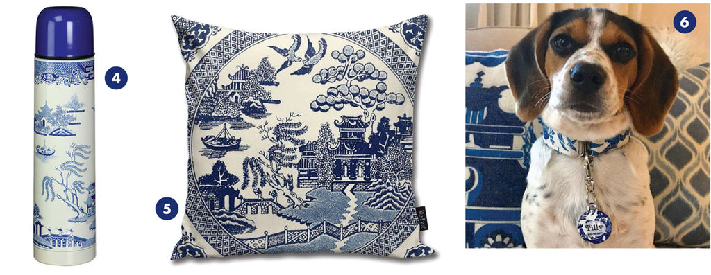 products with blue willow pattern on them